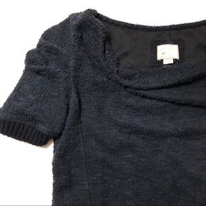 ANTHROPOLOGIE POSTAGE STAMP Boucle Sweater Navy